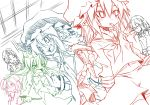 bow carrot closed_eyes eyes_closed fangs flandre_scarlet houraisan_kaguya inaba_tewi izayoi_sakuya lineart maid maid_headdress middle_finger noya noya_makoto party_whistle remilia_scarlet school_uniform serafuku sketch star sweatdrop touhou work_in_progress yagokoro_eirin