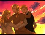 bad_id blonde_hair braid closed_eyes earrings edward_elric eyes_closed formal fullmetal_alchemist hand_on_shoulder jacket jewelry long_hair looking_back open_mouth pocky1202 ponytail smile sunset winry_rockbell
