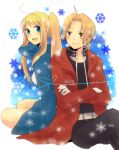 1girl back-to-back bad_id blonde_hair blue_eyes coat couple crossed_arms edward_elric fullmetal_alchemist heart heart_of_string long_hair open_mouth pocky1202 ponytail sitting smile winry_rockbell yellow_eyes