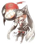 black_thighhighs boots bow cleavage_cutout guilty_gear hat jester_cap jester_hat one-eyed orange_eyes orange_hair robert short_hair simple_background teeth thigh-highs thigh_boots thighhighs valentine_(guilty_gear) wings zettai_ryouiki