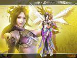 angel breast brown_hair diao_chan dress dynasty_warriors flower gloves green_eyes headdress jewelry koei long_hair midriff necklace sangoku_musou smile solo wallpaper warrior wings