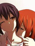 brown_eyes brown_hair closed_eyes collarbone eyes_closed hirasawa_yui k-on! kiss nakano_azusa necking school_uniform wink yuri zasshu_tamashii