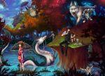 2boys 4girls animal arrietty artist_request black_cat broom broom_riding cape cat child company_connection crossover dragon dress earrings eastern_dragon flying forest fur gake_no_ue_no_ponyo ghibli grass hakama haku heisei_tanuki_gassen_ponpoko howl_no_ugoku_shiro howls_moving_castle instrument japanese_clothes jiji_(majo_no_takkyuubin) karigurashi_no_arrietty kaze_no_tani_no_nausicaa kiki kikis_delivery_service kodama laputa majo_no_takkyuubin mask mimi_wo_sumaseba minigirl mononoke_hime moro multiple_boys multiple_girls nature nausicaa necklace ogino_chihiro ohmu oversized_animal ponyo racoon river san sen_to_chihiro_no_kamikakushi sitting sky sosuke spirited_away standing studio_ghibli tanuki tenkuu_no_shiro_laputa the_baron tonari_no_totoro totoro udonnodu umbrella violin water witch wolf