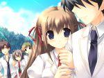 blue_eyes blush brown_hair game_cg kiss_x_demon_lord_x_darjeeling nanase_yuuna necktie sanjouji_shinobu seifuku takanae_kyourin tie