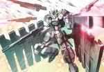 daizo dual_wielding energy_beam explosion foreshortening gun gundam gundam_00 gundam_00_a_wakening_of_the_trailblazer gundam_zabanya mecha solo weapon