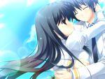 blue_hair game_cg kiss_x_demon_lord_x_darjeeling kuyou_sarasa mikeou seifuku sky