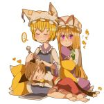 :3 barefoot blonde_hair blush brown_hair cat_tail chen cleaning_ears closed_eyes cotton_swab feet fox_tail happy hat hat_removed headwear_removed holding holding_hat lap_pillow long_hair mimikaki multiple_girls multiple_tails pote purple_eyes short_hair simple_background tail touhou violet_eyes wavy_mouth yakumo_ran yakumo_yukari