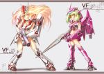bikini_armor blonde_hair blush cosplay green_hair gun himazin long_hair macross macross_frontier mecha mecha_musume open_mouth ranka_lee sachito sheryl_nome short_hair smile vf-25 vf-27 weapon
