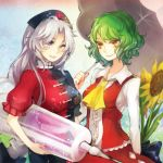 ;) ascot flower green_hair hat kazami_yuuka large_syringe lipstick long_hair makeup multiple_girls nail_polish orange_eyes oversized_object purple_eyes red_eyes short_hair silver_hair siting_zeng skirt skirt_set smile sunflower syringe touhou umbrella vest wink yagokoro_eirin youkai