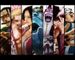 bartholomew_kuma beard black_eyes black_hair blonde_hair blue_skin boa_hancock breasts cigar cleavage cross donquixote_doflamingo dracule_mihawk everyone female gecko_moria jimbei long_hair male one_piece paw scar short_hair sir_crocodile sunglasses teeth threads tongue white_skin yellow_eyes
