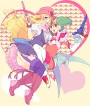 blonde_hair blue_eyes boots cosplay cowboy_hat dress frills green_hair hat headset heart jewelry macross macross_frontier macross_frontier:_itsuwari_no_utahime macross_frontier:_the_false_diva mechi multiple_girls open_mouth ranka_lee red_eyes sheryl_nome single_earring thigh-highs thighhighs western