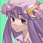 :o crescent crescent_moon hat highres long_hair nada_haruka patchouli_knowledge purple_eyes purple_hair solo touhou violet_eyes