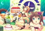 animal_ears cake camisole cherry crescent flower food fork fruit hair_flower hair_ornament lingerie multiple_girls navel original pancake panties star strap_slip tail underwear yoshino_ryou