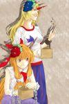 blonde_hair fang grin horn horns hoshiguma_yuugi ibuki_suika long_hair mamemaki mask masu multiple_girls oni oni_mask orange_hair serpens_(hebi) setsubun smile touhou