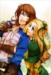 adult alternate_costume blonde_hair blue_eyes brown_hair buckle castlevania castlevania:_symphony_of_the_night coat dress_shirt gloves green_eyes hug long_hair maria_renard ribbon richter_belmondo richter_belmont sash senbe senbe_(motimotio) shirt short_hair smile symphony_of_the_night
