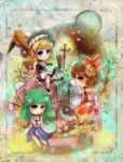 broom card card_(medium) cards chibi flower hakurei_reimu highres kira07 kirisame_marisa kochiya_sanae leaf lying_card multiple_girls playing_card playing_cards profile touhou witch yin_yang