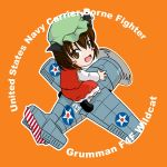 animal_ears blush_stickers brown_eyes brown_hair cat_ears chen chibi commentary grumman_f4f hat military sakurato_tsuguhi short_hair touhou world_war_ii wwii