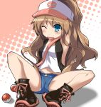 aisaka_taiga bad_id baseball_cap blue_eyes cosplay hat highres naotaka panties poke_ball pokemon pokemon_(game) pokemon_black_and_white pokemon_bw solo tears toradora! touko_(pokemon) touko_(pokemon)_(cosplay) underwear