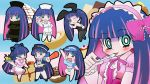apron bunny_ears bunnysuit cosplay drink food green_eyes hat mameshiba mameshiba_(artist) multicolored_hair nurse_cap panty_&_stocking_with_garterbelt police police_uniform policewoman ribbon spoon stocking_(character) stocking_(psg) syringe tongue tray two-tone_hair uniform waitress