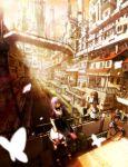 absurdres architecture boots bridge brown_hair building butterfly city cityscape cross-laced_footwear dress hair_ribbon highres knee_boots long_hair multiple_girls original pedestrian_bridge purple_hair railing ribbon scenery shade short_hair sitting spirtie stairs standing sunlight thigh-highs thighhighs