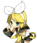 blonde_hair blue_eyes detached_sleeves hair_bow hair_clip headphones kagamine_rin leaning_forward molly sailor_uniform short_hair shorts vocaloid white