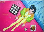 bed bedroom bishoujo_senshi_sailor_moon blue_eyes blue_hair chess cookie cookies english engrish food looking_up lowres mizuno_ami official_art pantyhose ranguage sailor_mercury sitting tights yellow_pantyhose