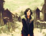 brown_hair cloudy coat earmuffs female girl looking_up original snow solo town tsuyomaru