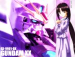 1girl after_war_gundam_x brown_eyes brown_hair gundam gundam_double_x gundam_x mecha ponytail purple solo tiffa_adill wallpaper