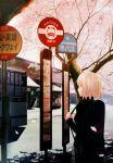 bag blonde_hair bus bus_stop copyright_request green_eyes motor_vehicle pullover randoseru sign skirt solo takeuchi_takashi tree vehicle