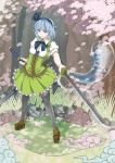 bad_id blue_eyes ghost hairband katana konpaku_youmu konpaku_youmu_(ghost) myon short_hair silver_hair solo sword tenjiku_nezumi tenjikunezumi thighhighs touhou weapon