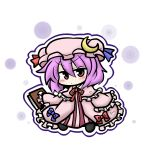 alternate_hairstyle blush book chibi crescent hat patchouli_knowledge purple_eyes purple_hair short_hair solo touhou yanagi_(artist) yanagi_(nurikoboshi)