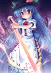 blue_hair food fruit hat hinanawi_tenshi long_hair peach red_eyes solo sword sword_of_hisou takeponi touhou weapon