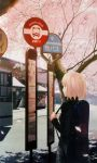 backpack bag blonde_hair bus bus_stop cherry_blossoms copyright_request green_eyes highres instrument motor_vehicle pullover randoseru sign skirt solo takeuchi_takashi tree vehicle