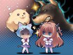animal brown_eyes brown_hair charlotte_vaasa chibi dog game_cg mikeou nanairo_kouro nanami_haruka white_hair