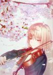 cherry_blossoms green_eyes instrument original pullover smile solo takeuchi_takashi tsuki_no_sango violin