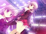 blush brown_hair game_cg microphone mikeou nanairo_kouro nanami_haruka red_eyes