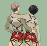 2boys 3dmg bccccc black_hair boxers brown_hair clothes_writing english eren_jaeger from_behind jean_kirchstein multiple_boys no_pants shingeki_no_kyojin underwear