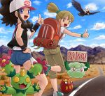 ass backpack backpacker_(pokemon) bag baseball_cap braviary cottonee darumaka hat hitchhiking looking_back maractus open_mouth poke_ball pokemon pokemon_(game) pokemon_black_and_white pokemon_bw shorts smile soara street thumbs_up touko_(pokemon)