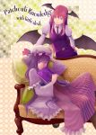 2girls bat_wings book boots character_name checkered checkered_background couch crescent dress frills hair_ribbon hand_on_hip hat head_tilt head_wings hiraoka_masamune koakuma long_hair multiple_girls necktie patchouli_knowledge pillow purple_hair redhead ribbon smile touhou vest violet_eyes wings