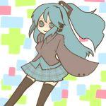 happy hatsune_miku pattern patterned ponytail school_uniform thighhighs vocaloid