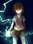 1girl brown_eyes brown_hair electricity highres misaka_mikoto pietani397 school_uniform skirt smirk solo sweater_vest to_aru_kagaku_no_railgun to_aru_majutsu_no_index