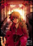 bad_id green_eyes highres kurama long_hair male marirero_a red_hair redhead school_uniform solo stairs yu_yu_hakusho yuu_yuu_hakusho