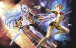 2girls aegis android blonde_hair blue_eyes blue_hair boots bow breasts crossover elbow_gloves gloves highres kos-mos lance large_breasts long_hair multiple_girls persona persona_3 polearm red_eyes shiitake_urimo short_hair slender_waist thigh_boots thighhighs underboob very_long_hair weapon xenosaga xenosaga_episode_iii