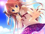 asuka_mirai blue_eyes blush brown_hair game_cg mikeou nanairo_kouro sky