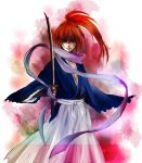 a_mimimi blood frame frown gradient himura_kenshin japanese_clothes katana male ponytail red_hair redhead rurouni_kenshin scar scarf solo sword weapon