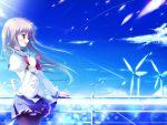 brown_hair clouds game_cg long_hair mikeou nanairo_kouro nanami_haruka red_eyes seifuku sky water windmill