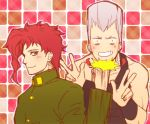 danemaru earrings green_eyes grey_hair jean_pierre_polnareff jewelry jojo_no_kimyou_na_bouken kakyouin_noriaki punching redhead v