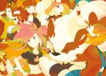 3girls :3 afro arcanine asuna_(pokemon) baoppu brown_hair brown_ribbon camerupt charizard facial_hair flareon grin hagiko haruka_(pokemon) hat hat_ribbon houndoom katsura_(pokemon) kotone_(pokemon) magmar midriff multiple_girls mustache navel ninetales numel ooba_(pokemon) pansear pod_(pokemon) pokemon pokemon_(creature) pokemon_(game) pokemon_black_and_white pokemon_bw pokemon_dppt pokemon_gsc pokemon_heartgold_and_soulsilver pokemon_hgss pokemon_rse ponytail red_hair redhead ribbon smile sunglasses tepig tyranitar