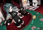 aqua_hair card cards casino chain face_paint facepaint formal garter_belt garters gloves green_eyes gumi horns lying_card mirre necktie playing_card playing_cards poker poker_chips poker_face_(vocaloid) shorts solo suit thigh-highs thighhighs vocaloid