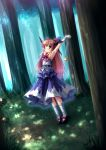 arm_hug armpits arms_up belt blonde_hair bow chain chains forest hair_bow horns ibuki_suika long_hair nature orange_hair ribbon solo standing stretch sunbeam sunlight takeponi touhou wink wrist_cuffs yellow_eyes